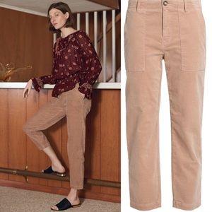 Joie Painter Chino Tan Velvet Crop Pants Capri 30